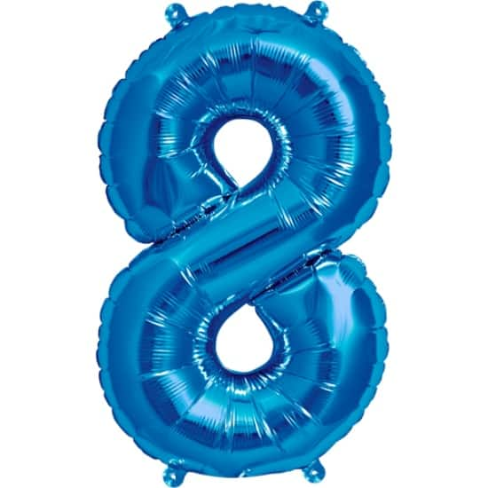 Blue Number 8 Air Fill Foil Balloon - 16 Inches / 41cm Product Image