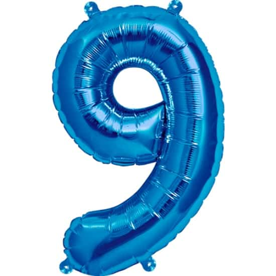 Blue Number 9 Air Fill Foil Balloon - 16 Inches / 41cm Product Image
