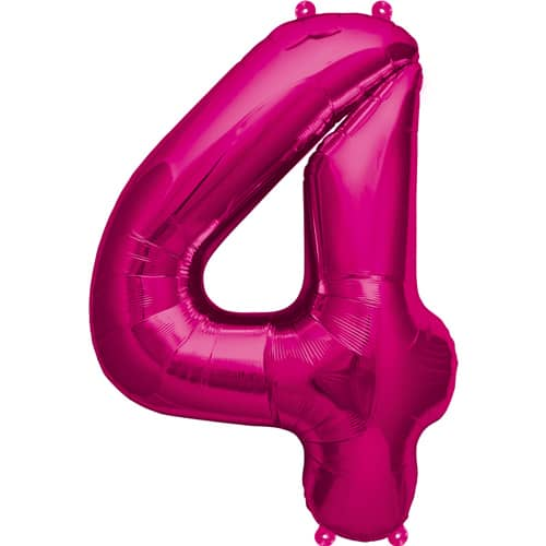 Pink Number 4 Foil Balloon 16 Inches 41cm Partyrama