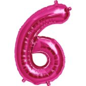 Pink Number '6' Foil Balloon – 16 Inches / 41cm
