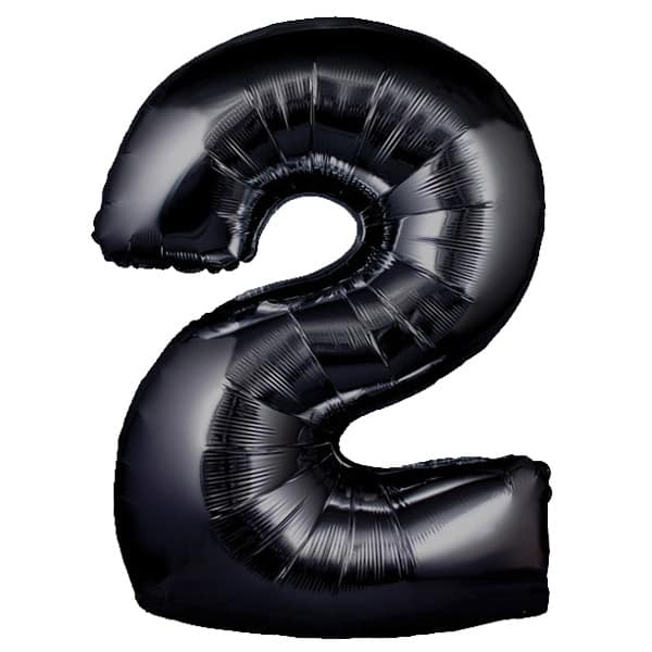 Black Number 2 Helium Foil Giant Balloon 76cm / 30 in Bundle Product Image
