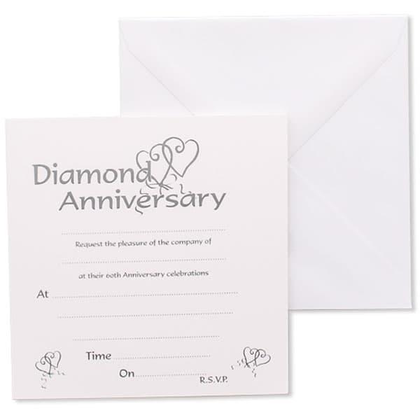 Diamond anniversary invitations envelopes partyrama diamond anniversary party invites product image stopboris Image collections