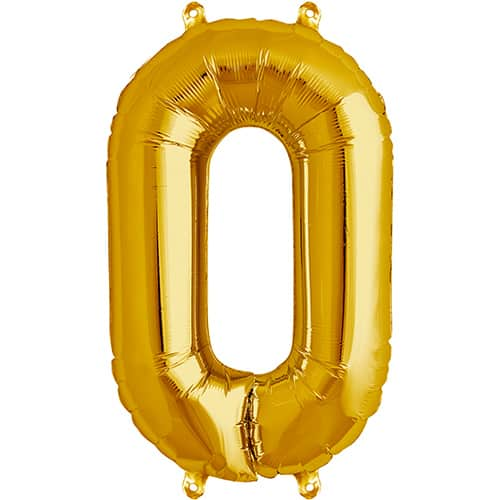 Gold Number 0 Foil Balloon 16 Inches 41cm