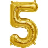 Gold Number 5 Supershape Foil Balloon 34 Inches 86cm