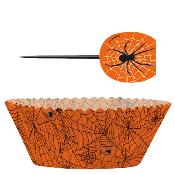 Halloween Spider Web Cupcake Decorations Kit - Pack of 24