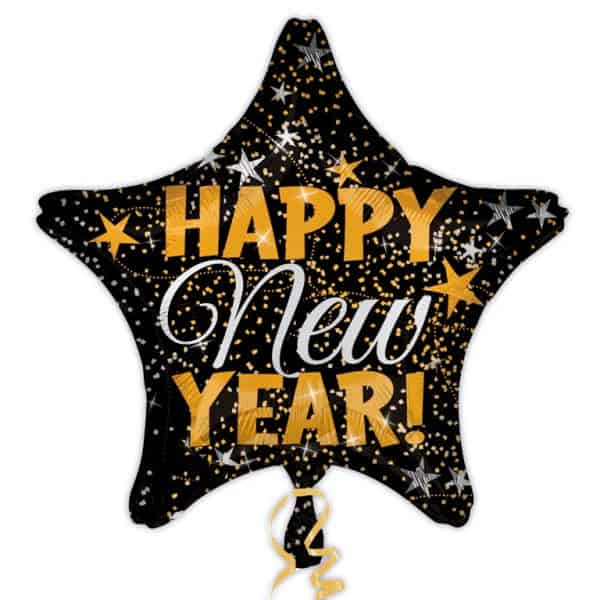 Happy New Year Star Shaped Foil Helium Balloon 48cm / 19Inch