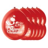 Merry Christmas Santa Biodegradable Latex Balloons – 9 Inches / 23cm – Pack of 10