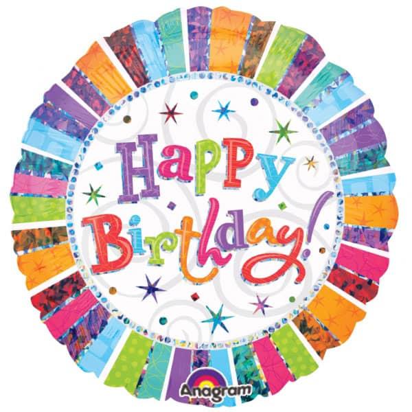 Radiant Happy Birthday Round Foil Balloon 18 Inch