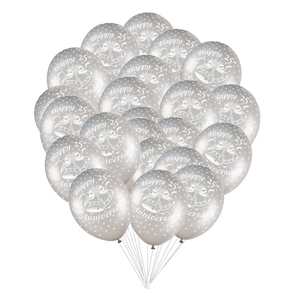 Happy Silver Anniversary Biodegradable Latex Balloons - 12 Inches / 30cm - Pack of 50