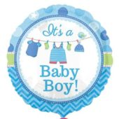 Its A Baby Boy Round Foil Helium Balloon 43cm / 17Inch