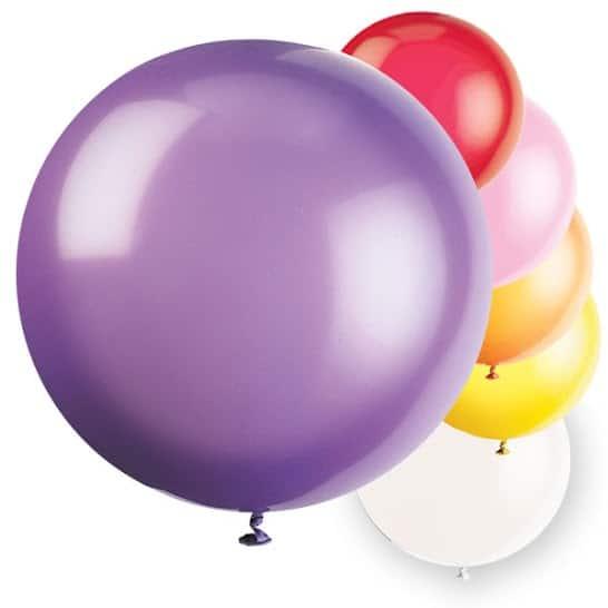 Assorted Jumbo Biodegradable Latex Balloons 91cm Pack Of 6