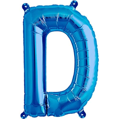 Blue foil balloon letter d 16 inches 41cm partyrama co uk