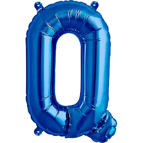 Blue Air Fill Foil Balloon Letter Q – 16 Inches / 41cm Product Image