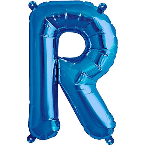 blue foil balloon letter r – 16 inches / 41cm | partyrama