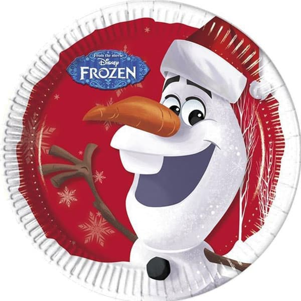 Olaf Christmas Round Paper Plate - 9 Inches / 23cm