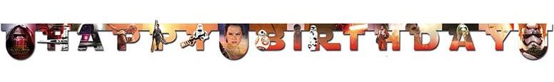 Star Wars Force Awakens Happy Birthday Letter Banner - 6.6Ft / 2m
