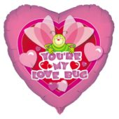 You are My Lovebug Heart Shape Foil Helium Balloon 46cm / 18Inch