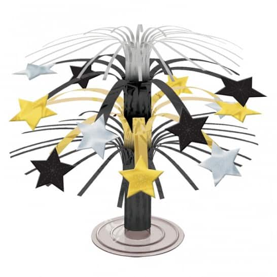 Black ,Gold And Silver Star Cascade Centrepiece – 19cm