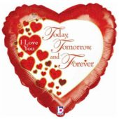 I Love You Today Tomorrow Forever Heart Supershape Foil Helium Balloon 91cm / 36Inch