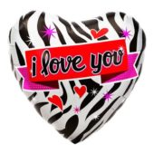 I Love You Zebra Design Heart Shaped Foil Helium Balloon 46cm / 18Inch
