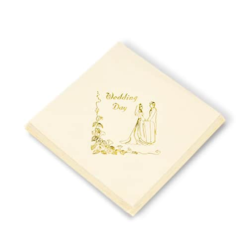 Ivory Napkin With Bride and Groom Wedding Day Print in Gold 3 Ply - 40cm - Pack of 20