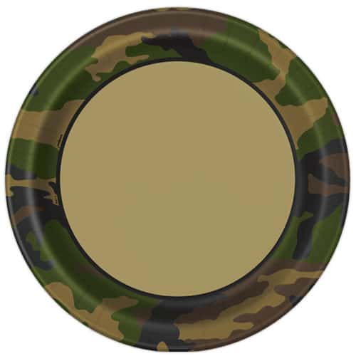 Camouflage Round Paper Plates 22cm - Pack of 8