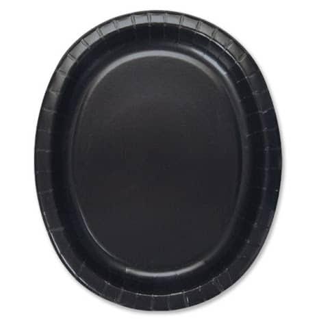 Black Oval Paper Plate - 30cm