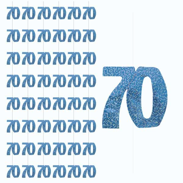 Blue Glitz 70th Birthday Hanging Decoration - 5 Ft / 152cm - Pack of 6 Strings Product Image