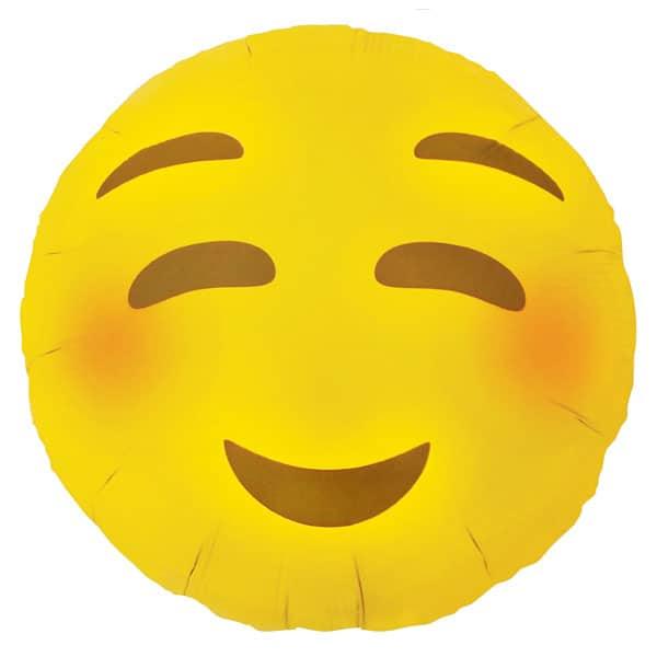 Emoji Blushing Round Foil Helium Balloon 46cm / 18Inch