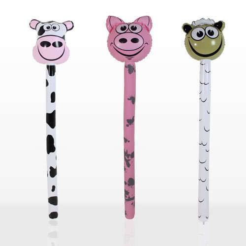 Inflatable Farm Animals Stick 118cm Assorted Designs
