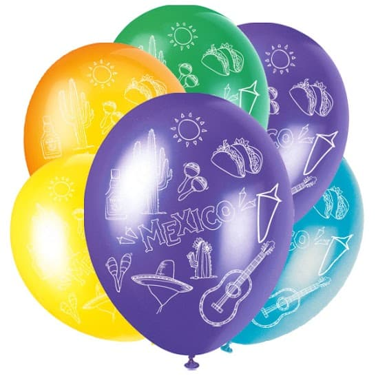 Mexican Latex Balloons - 30cm - Pack of 6