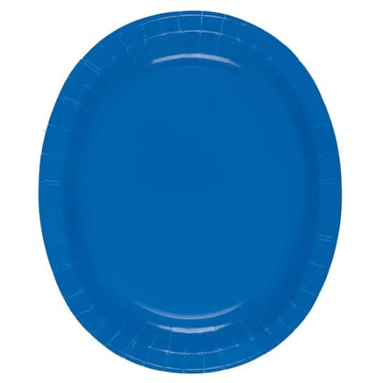 Royal Blue Oval Paper Plates 30cm - Pack of 8