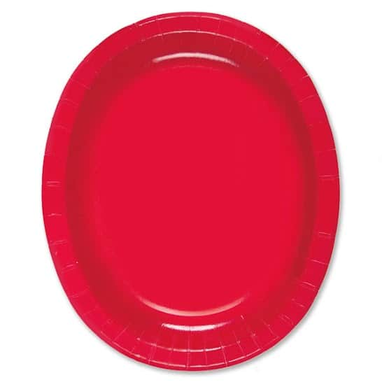 Ruby Red Oval Paper Plates 30cm - Pack of 8