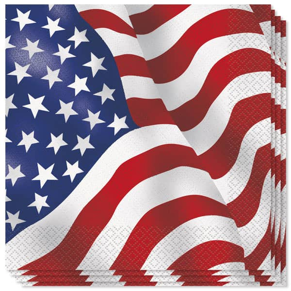 USA Flag Luncheon Napkins - 2Ply - 33cm - Pack of 16