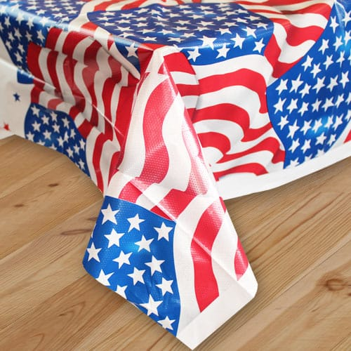 USA Flag Plastic Tablecover 213cm x 137cm