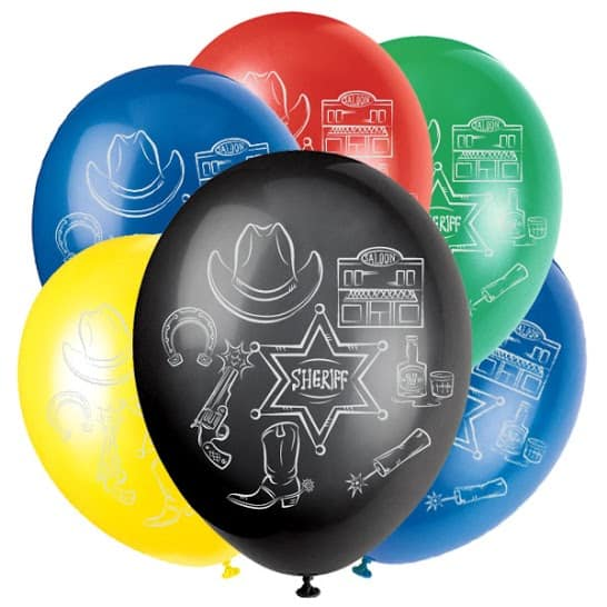 Western Latex Balloons - 30cm - Pack of 6