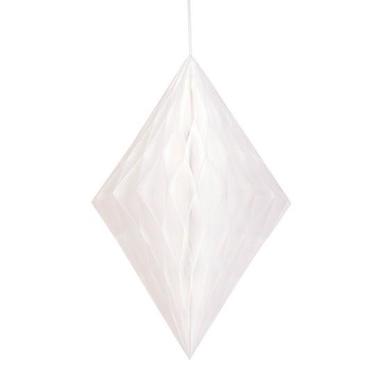 White Diamond Honeycomb Hanging Decoration 35cm