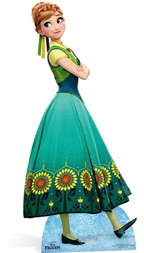 Disney Frozen Anna In Green Dress Lifesize Cardboard Cutout - 168cm - PREO Product Image