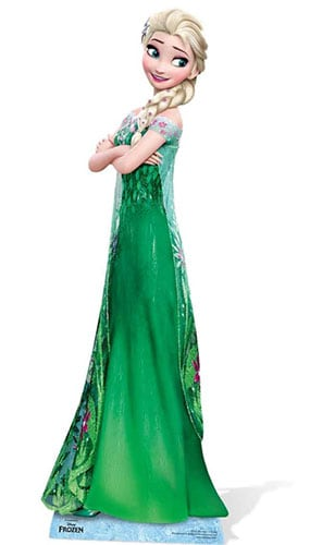 Disney Frozen Elsa In Green Dress Lifesize Cardboard Cutout -182cm - PREO