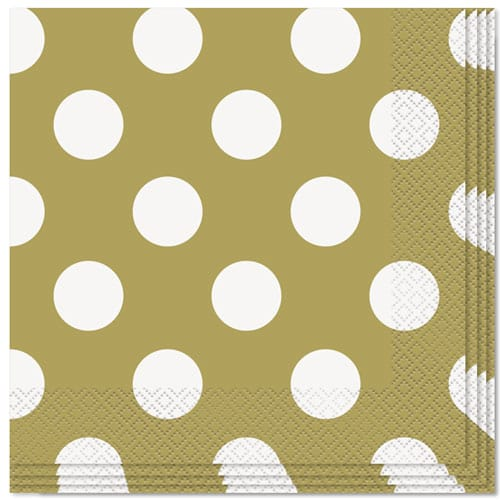 Gold Decorative Dots 2 Ply Luncheon Napkins - 33cm - Pack of 16