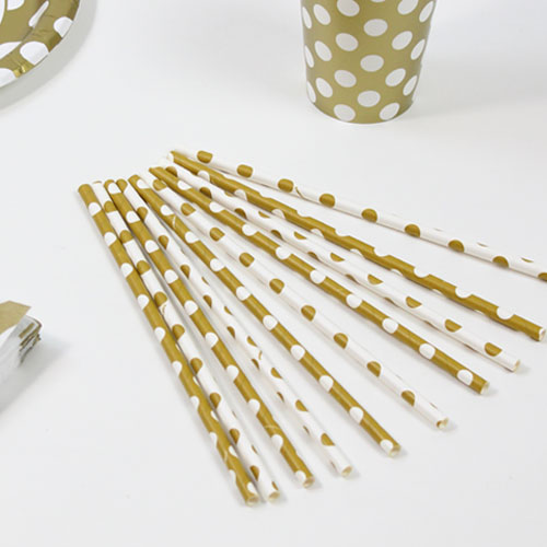 Gold Decorative Dots Paper Drinking Straws - Pack of 10