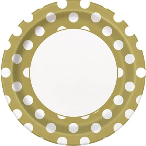 Gold Decorative Dots Paper Plate 22cm / 9Inch