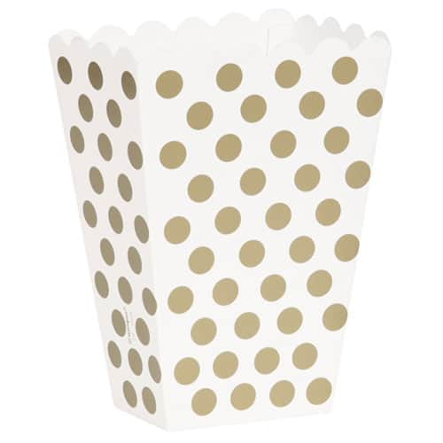 Gold Decorative Dots Treat Boxes - Pack of 8