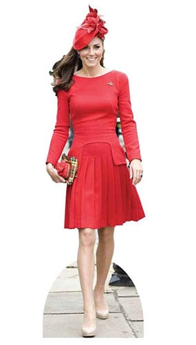 Kate Middleton In Red Dress Lifesize Cardboard Cutout - 189cm