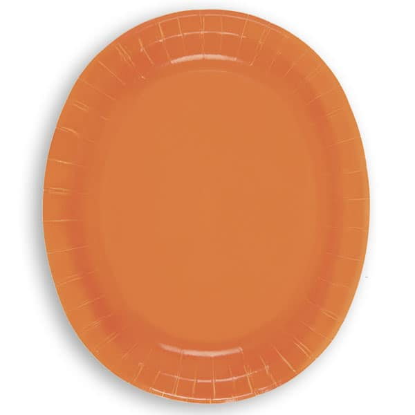Orange Oval Paper Plate - 30cm