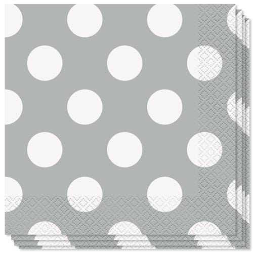 Silver Decorative Dots 2 Ply Luncheon Napkins - 33cm - Pack of 16