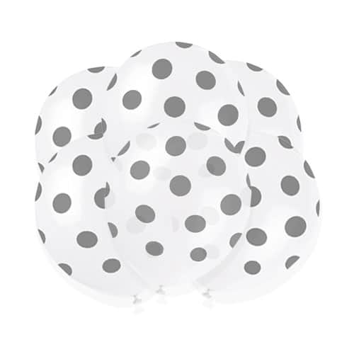 Silver Decorative Dots Biodegradable Latex Balloons - 30cm - Pack of 6 Product Image