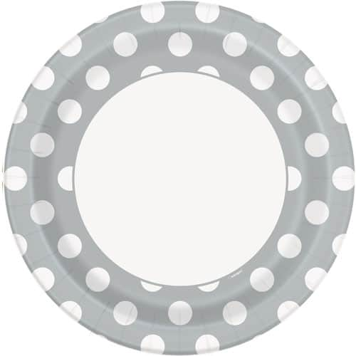 Silver Decorative Dots Paper Plates 22cm - Pack of 8