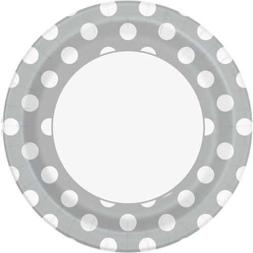 Silver Decorative Dots Paper Plate 22cm / 9Inch