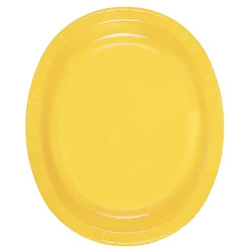 Yellow Oval Paper Plates 30cm - Pack of 8